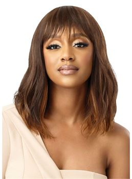 Women's Medium Natural Wavy Synthetic Hair Hair Capless Wigs With Bangs 16Inch