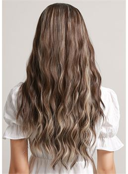 Long Wavy Balayage Hair Ombre Synthetic Capless Women Wig 28 Inches