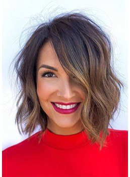 Sexy Women's Textured Layers Hairstyles Body Wavy Synthetic Hair Capless Wigs 14Inch