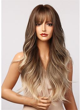 Mix Color Balayage Hair Wig Ombre Loose Wavy Synthetic Hair Capless Wig With Bangs 28 Inches