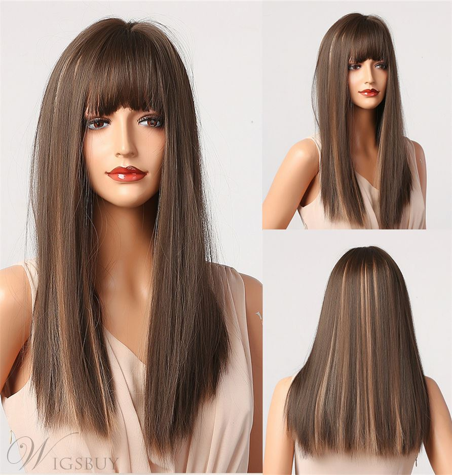 Mix Color Long Balayage Hair Ombre Synthetic Straight Hair Capless Wig With Bangs 28 Inches