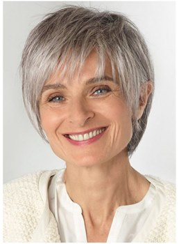 Older Laides Grey Hair Wig Short Straight Synthetic Hair With Layered Bangs 10Inch