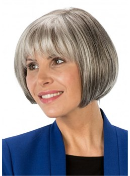Women's Chin Length Short Grey Bob Synthetic Straight Hair Wig With Full Bangs 10Inch