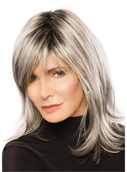 Long Grey Hairstyle Synthetic Straight Hair Wig for Older Lady 18Inches