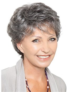 Short Layered Grey Hair Wig Synthetic Straight Hair Wig For Older Women