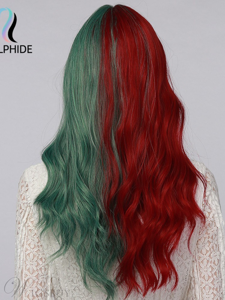Ombre Hairstyle Synthetic Hair Two Tone Color Wavy Coslplay Wig 24 Inches
