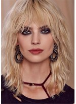 Messy Chin Length Wavy Human Hair With Bangs Capless Wigs
