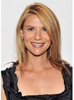 Claire Danes Coppery Honey Blonde Women's Shaggy Straight Human Hair Capless Wigs 18Inch