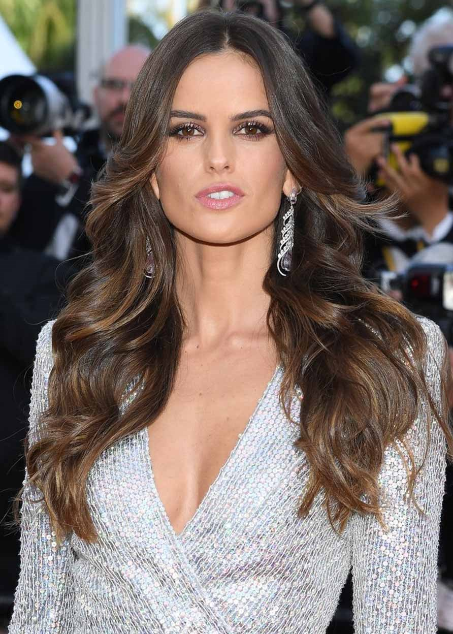 Izabel Goulart's Wispy Waves Volume Layered Hairstyle Women's Long Length Wavy Human Hair Lace Front Wigs 26Inch