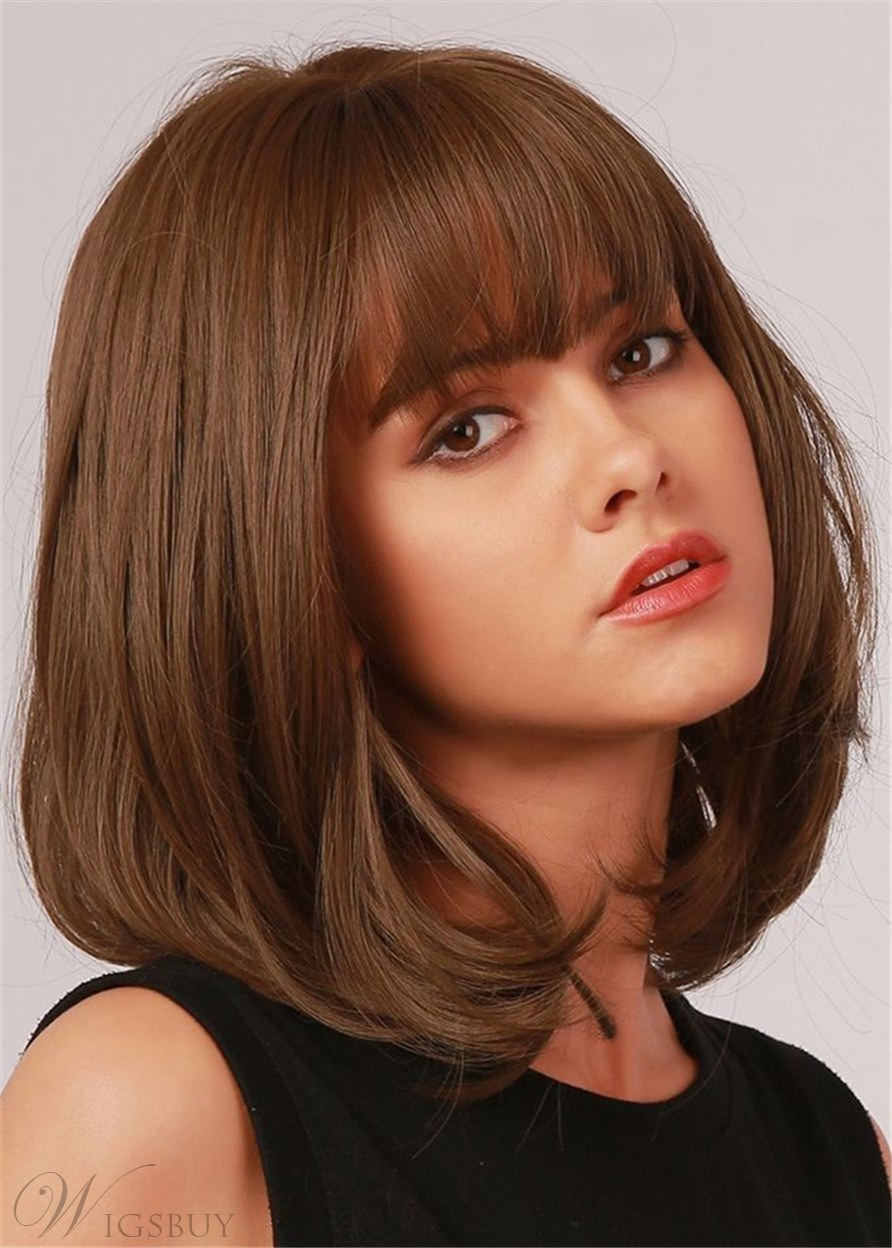 Brown Short Wig With Bang Straight Hair Capless Wpmen Wig 16 Inches