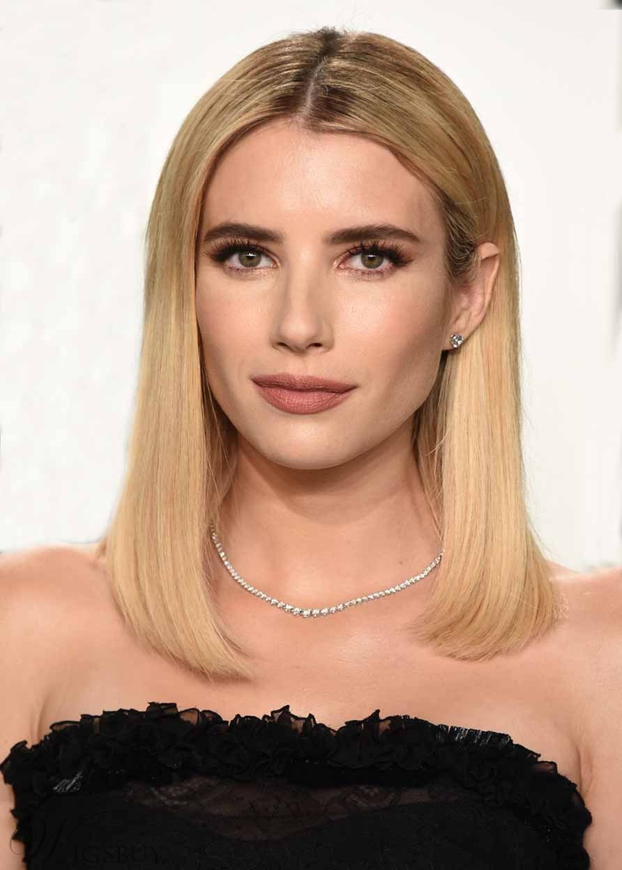 Emma Roberts Quintessential Honey Blonde Hairstyle Women's Medium BOB Straight Human Hair Lace Front Wigs 18Inch