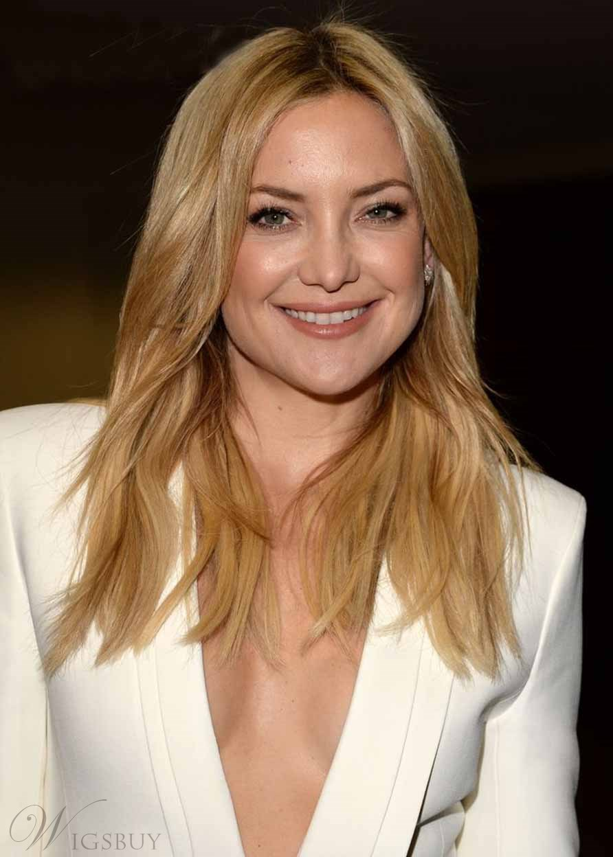Kate Hudson Honey Strands Blonde Hairstyle Women's Natural Straight Human Hair Capless Wigs 20Inch