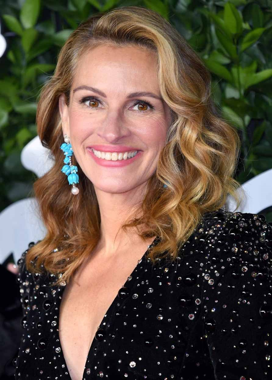 Julia Roberts Dimensional Honey-Blonde Highlights Style Wavy Human Hair Capless Wigs For Ultimate Pretty Women 18Inch