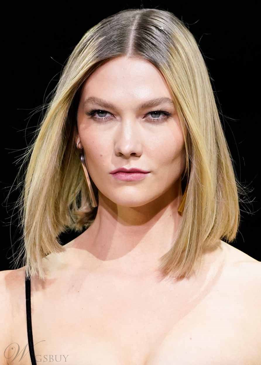 Karlie Kloss Nothing Syrupy Sleek And Streamlined Tone Women's BOB Straight Human Hair Lace Front Wigs 14Inch