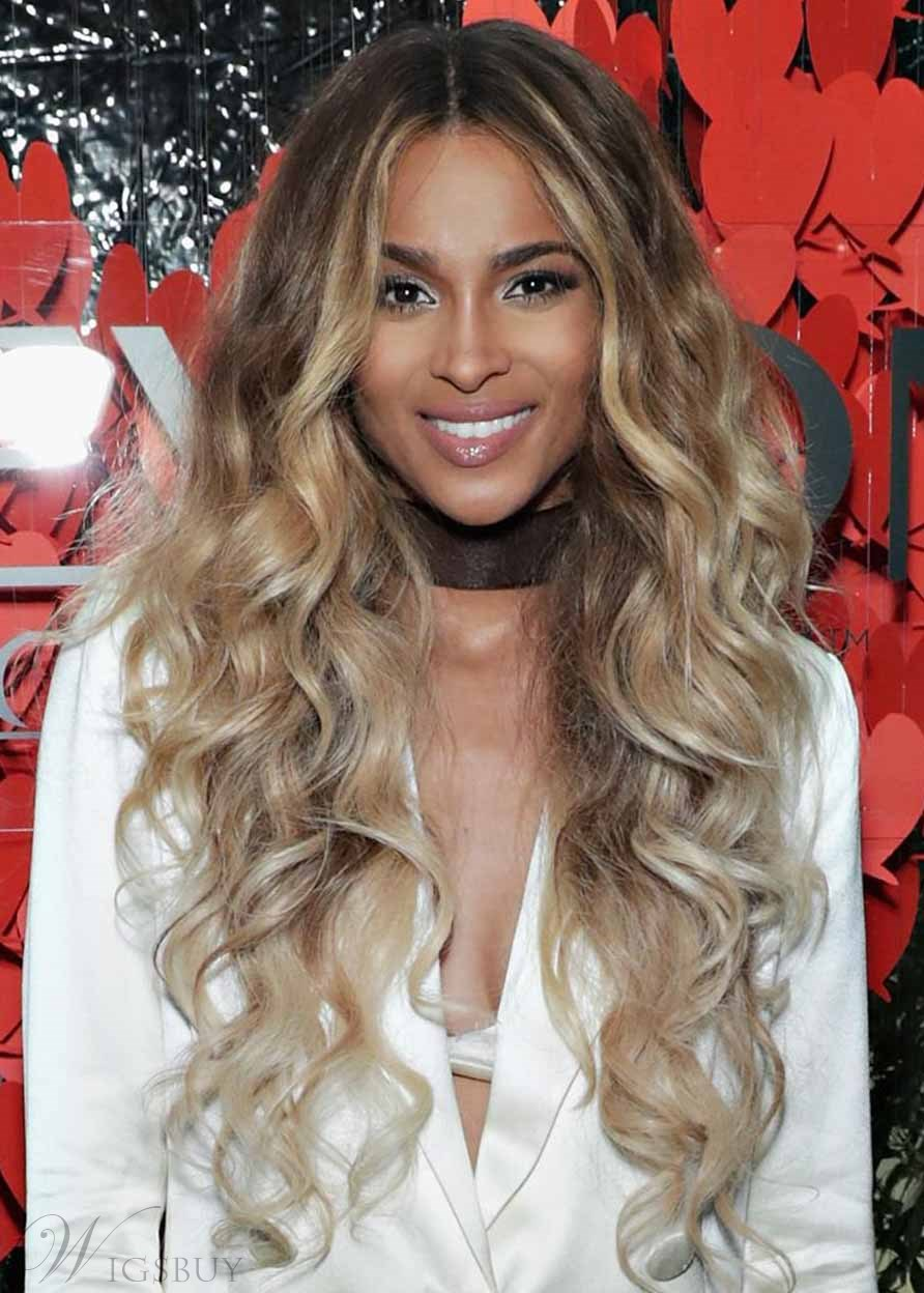 Ciara's Bombshell Blonde Curls Hairstyle Women's Long Length Wavy Human Hair Lace Front Cap Wigs 30Inch