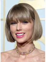 Short Bob Hairstyle Women's Bob Style Straight Synthetic Hair Capless Wigs With Bangs 10inch