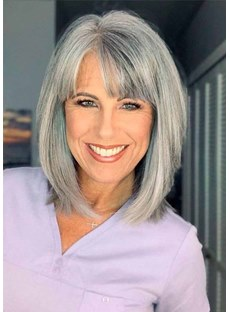 Salt and Pepper Short Bob Style Women's Synthetic Hair Capless Wigs Wig Bangs 12Inch
