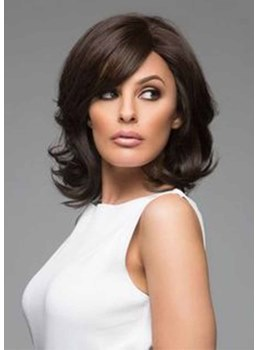 Medium Hairstyles Natural Looking Women's Sexy Wavy Synthetic Hair Capless Wigs 14Inch