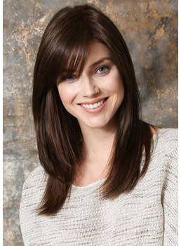 Medium Hairstyles Women's Natural Looking Straight Synthetic Hair Capless Wigs With Bangs 20Inch