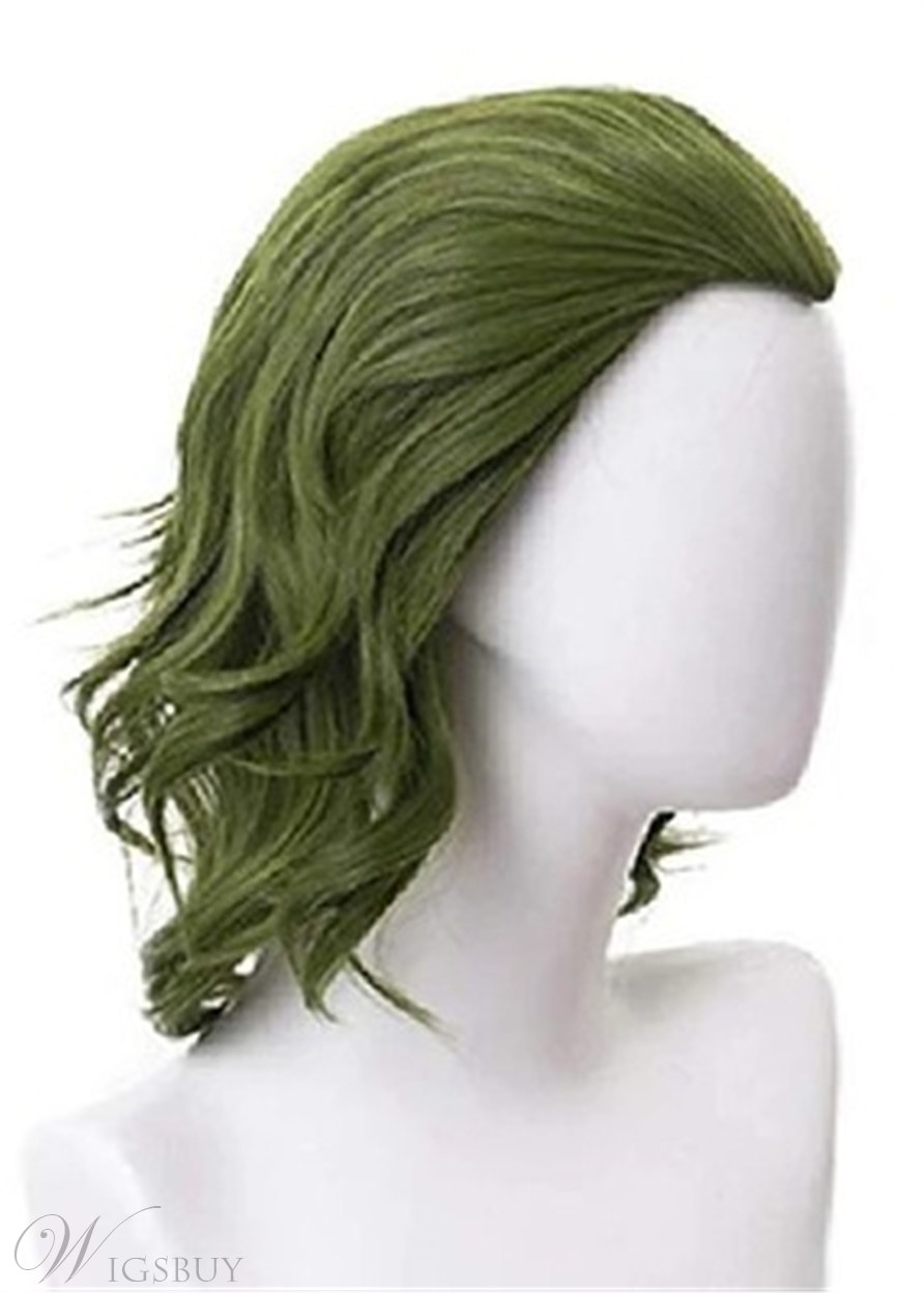 Joker Cosplay Wig Green Color Wavy Synthetic Hair Capless Wigs 12Inch