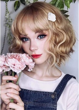 Cosplay Wig Wavy Synthetic Hair Capless Wigs 14Inch