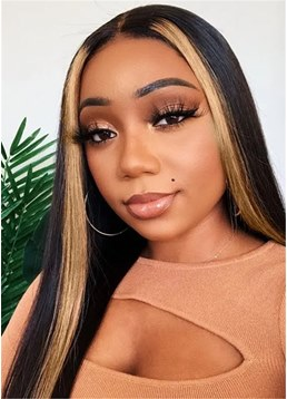 Ombre Long Wavy Human Hair Lace Front Wigs for Women