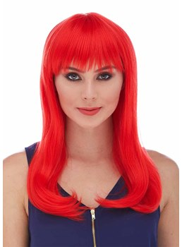 Halloween Custome Cosplay Wigs Long Red Bob Bangs Straight Synthetic Hair Capless Wigs 18Inch