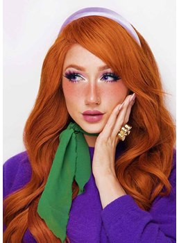 Halloween Costumes Cosplay Wigs Women's Layered Wavy Synthetic Hair Capless Wigs 24Inch