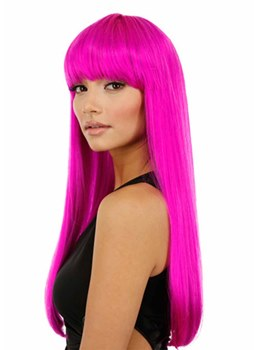 Halloween Cosplay Wigs Women's Pink Long Bob Straight Synthetic Hair Capless Wigs 22Inch