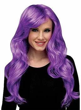 Halloween Cosplay Wigs Women's Long Layered Wavy Purple Synthetic Hair Capless Wigs 26Inch