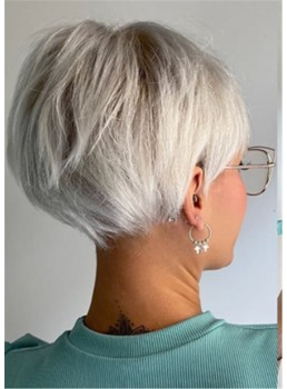 Silver-White Easy Cute Pixie-Bob Haircuts Synthetic Straight Hair With Bangs Capless Wigs 10Inch