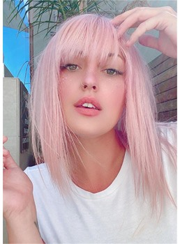 Cute All-Over Baby Pink Long Bob Style Synthetic Straight Hair With Full Bangs For Fine Hair