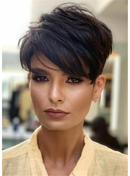 Tousled Asymmetrical Short Hairstyle Straight Human Hair With Side Bangs Full Lace Front Wigs
