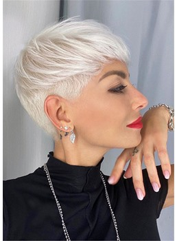 Super Sophisticated Short Silver Hairstyle Straight Human Hair Full Lace Front Wigs Inch