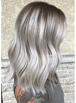 Silver-White Over Taupe Roots Wavy Synthetic Straight Hair Women Capless Wigs 18 Inches