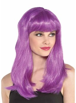 Halloween Costumes Cosplay Women's Natural Straight Bob Bangs Synthetic Hair Capless Wigs 20Inch