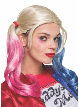 Harley Quinn Hairstyle Holloween Cosplay Wigs Natural Straight Synthetic Hair Capless Wig 20Inch