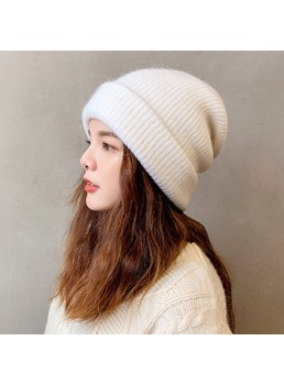 Sweet Style Women's Patchwork Embellishment Plain Pattern Dome Crown Knitted Hats