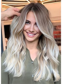 Ombré-Balayage Hairstyle Light Brown to Light Blonde Long Wavy Human Hair Wig 26 Inches