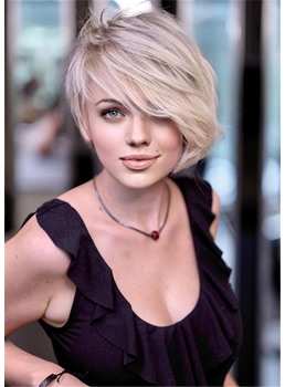 Blonde Asymmetrical Bob Hairstyle Wavy Human Hair With Bangs Capless Wigs 10 Inches