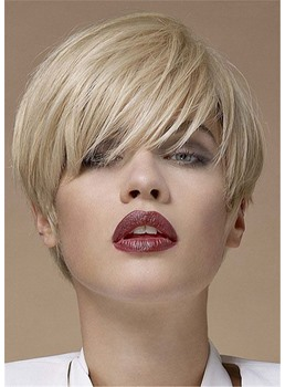Short Blonde Bob Natrual Straight Human Hair With Bangs Capless Lace Front Wigs 10 Inches