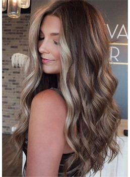 Light-Brown With Blonde Balayage Long Hairstyles Long Wavy Human Hair With Color Trends 28Inches