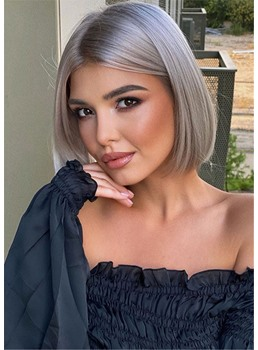 Silver Gray Short Bob Hairstyles Synthetic Straight Hair Capless Wigs 12 Inch