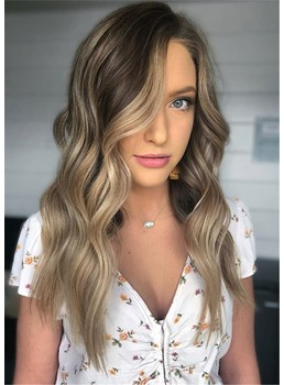 Soft Nautral Blonde Balayage Hairstyle Light Brown Long Wavy Human Hair Wig 28 Inches