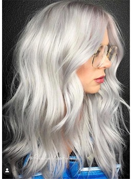 All-over Natural Silver-White Synthetic Straight Hair Women Capless Wigs 20 Inches