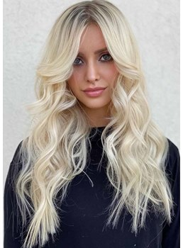 Women's Luxury Warm Light Blonde Balayage Hairstyle Wavy Synthetic Hair Capless Wigs 24Inch