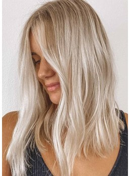 Gorgeous Women's Shoulder-Length Hairstyles Blonde Natural Straight Synthetic Hair Capless Wigs 16Inch