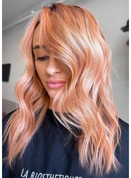 Women's Beautiful Color Layered Wavy Hairstyles Synthetic Hair Capless Wigs 20Inch