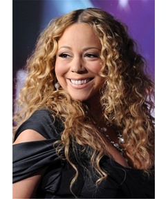 Mariah Carey Long Hairstyles for Blonde Curly Human Hair Women Wig 20 Inches