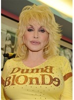 Dolly Parton Hairstyle Messy Chin-Length Golden Layered Wavy Synthetic Hair Wigs 16Inch